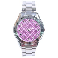 Scales1 White Marble & Purple Glitter Stainless Steel Analogue Watch by trendistuff