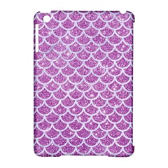 Scales1 White Marble & Purple Glitter Apple Ipad Mini Hardshell Case (compatible With Smart Cover) by trendistuff
