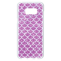Scales1 White Marble & Purple Glitter Samsung Galaxy S8 Plus White Seamless Case by trendistuff