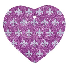 Royal1 White Marble & Purple Glitter (r) Ornament (heart) by trendistuff