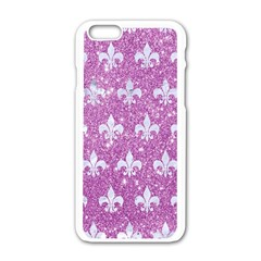Royal1 White Marble & Purple Glitter (r) Apple Iphone 6/6s White Enamel Case by trendistuff