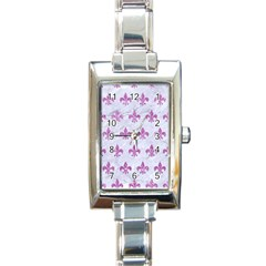 Royal1 White Marble & Purple Glitter Rectangle Italian Charm Watch by trendistuff
