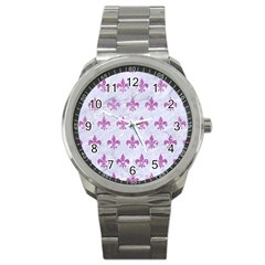 Royal1 White Marble & Purple Glitter Sport Metal Watch by trendistuff