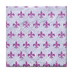 Royal1 White Marble & Purple Glitter Face Towel by trendistuff