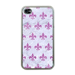 Royal1 White Marble & Purple Glitter Apple Iphone 4 Case (clear) by trendistuff