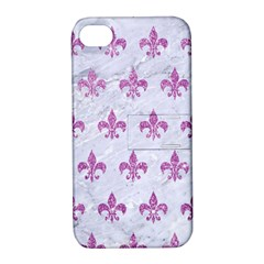Royal1 White Marble & Purple Glitter Apple Iphone 4/4s Hardshell Case With Stand by trendistuff