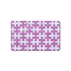 Puzzle1 White Marble & Purple Glitter Magnet (name Card) by trendistuff