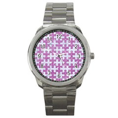 Puzzle1 White Marble & Purple Glitter Sport Metal Watch