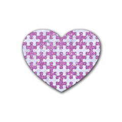 Puzzle1 White Marble & Purple Glitter Heart Coaster (4 Pack)  by trendistuff