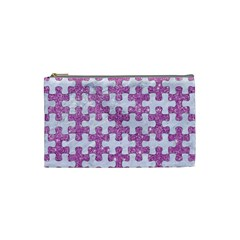 Puzzle1 White Marble & Purple Glitter Cosmetic Bag (small)  by trendistuff