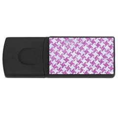 Houndstooth2 White Marble & Purple Glitter Rectangular Usb Flash Drive by trendistuff
