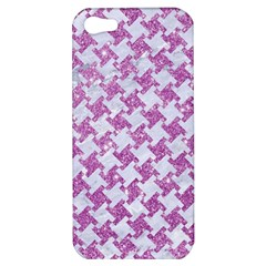 Houndstooth2 White Marble & Purple Glitter Apple Iphone 5 Hardshell Case by trendistuff
