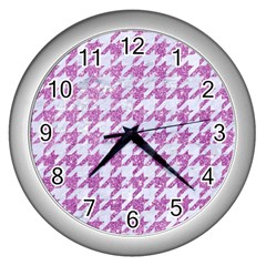 Houndstooth1 White Marble & Purple Glitter Wall Clocks (silver)  by trendistuff