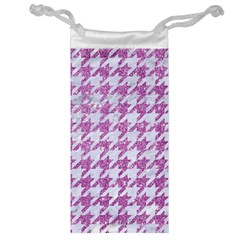Houndstooth1 White Marble & Purple Glitter Jewelry Bag by trendistuff