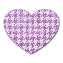 Houndstooth1 White Marble & Purple Glitter Heart Mousepads by trendistuff