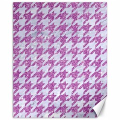 Houndstooth1 White Marble & Purple Glitter Canvas 11  X 14   by trendistuff