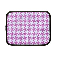 Houndstooth1 White Marble & Purple Glitter Netbook Case (small)  by trendistuff