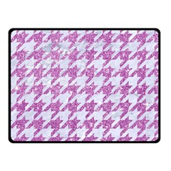 Houndstooth1 White Marble & Purple Glitter Fleece Blanket (small) by trendistuff