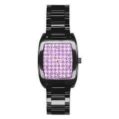Houndstooth1 White Marble & Purple Glitter Stainless Steel Barrel Watch by trendistuff