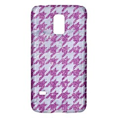 Houndstooth1 White Marble & Purple Glitter Galaxy S5 Mini by trendistuff