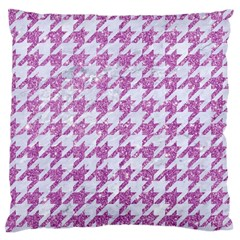 Houndstooth1 White Marble & Purple Glitter Large Flano Cushion Case (two Sides) by trendistuff