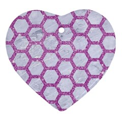 Hexagon2 White Marble & Purple Glitter (r) Heart Ornament (two Sides) by trendistuff