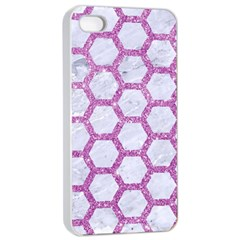 Hexagon2 White Marble & Purple Glitter (r) Apple Iphone 4/4s Seamless Case (white) by trendistuff