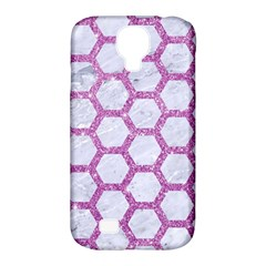 Hexagon2 White Marble & Purple Glitter (r) Samsung Galaxy S4 Classic Hardshell Case (pc+silicone) by trendistuff
