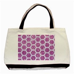 Hexagon2 White Marble & Purple Glitter Basic Tote Bag (two Sides)