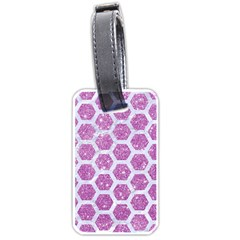 Hexagon2 White Marble & Purple Glitter Luggage Tags (one Side)  by trendistuff