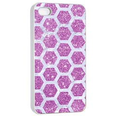 Hexagon2 White Marble & Purple Glitter Apple Iphone 4/4s Seamless Case (white) by trendistuff