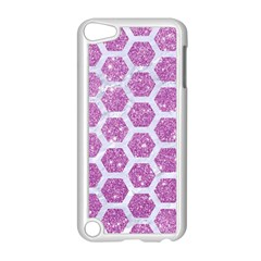 Hexagon2 White Marble & Purple Glitter Apple Ipod Touch 5 Case (white) by trendistuff