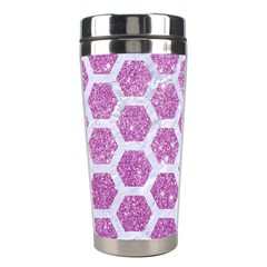 Hexagon2 White Marble & Purple Glitter Stainless Steel Travel Tumblers by trendistuff