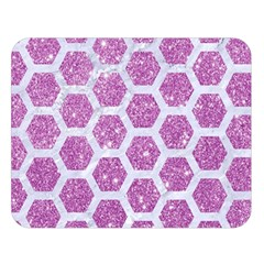 Hexagon2 White Marble & Purple Glitter Double Sided Flano Blanket (large)  by trendistuff