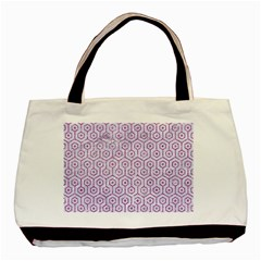 Hexagon1 White Marble & Purple Glitter (r) Basic Tote Bag (two Sides)