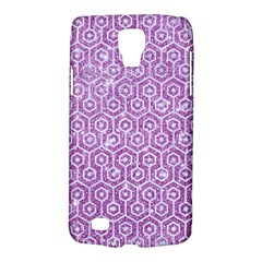 Hexagon1 White Marble & Purple Glitter Galaxy S4 Active