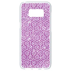 Hexagon1 White Marble & Purple Glitter Samsung Galaxy S8 White Seamless Case by trendistuff