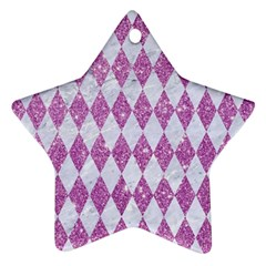Diamond1 White Marble & Purple Glitter Star Ornament (two Sides) by trendistuff