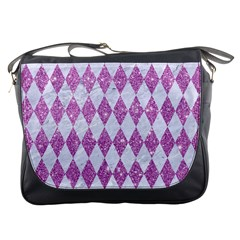 Diamond1 White Marble & Purple Glitter Messenger Bags by trendistuff