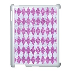 Diamond1 White Marble & Purple Glitter Apple Ipad 3/4 Case (white) by trendistuff