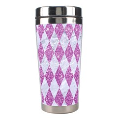 Diamond1 White Marble & Purple Glitter Stainless Steel Travel Tumblers by trendistuff