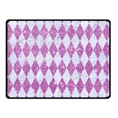 Diamond1 White Marble & Purple Glitter Double Sided Fleece Blanket (small)  by trendistuff