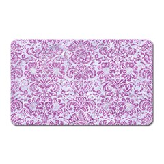Damask2 White Marble & Purple Glitter (r) Magnet (rectangular) by trendistuff