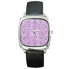Damask2 White Marble & Purple Glitter (r) Square Metal Watch