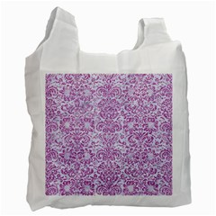 Damask2 White Marble & Purple Glitter (r) Recycle Bag (two Side)  by trendistuff