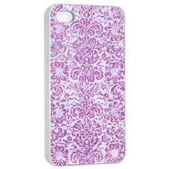 Damask2 White Marble & Purple Glitter (r) Apple Iphone 4/4s Seamless Case (white) by trendistuff