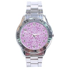 Damask2 White Marble & Purple Glitter Stainless Steel Analogue Watch by trendistuff