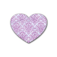 Damask1 White Marble & Purple Glitter (r) Rubber Coaster (heart)  by trendistuff