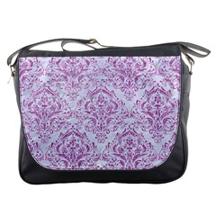 Damask1 White Marble & Purple Glitter (r) Messenger Bags by trendistuff