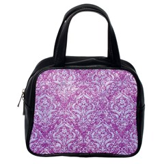 Damask1 White Marble & Purple Glitter Classic Handbags (one Side) by trendistuff